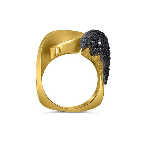 Black Diamonds And Yellow Gold Calla Ring-Alex Soldier-JewelStreet US
