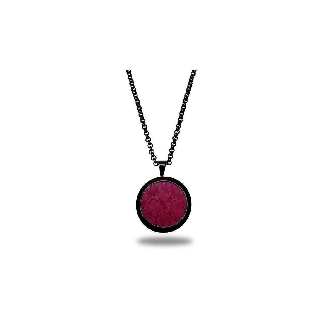 Deep Pink Atlantic Salmon Leather Pendant - Black Finish-Necklaces-Marlin Birna-JewelStreet