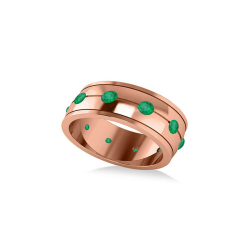 Rose Gold & Emerald Men's Eternity Wedding Band | Allurez