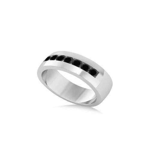 White Gold & Black Diamond Men's Wedding Band | Allurez