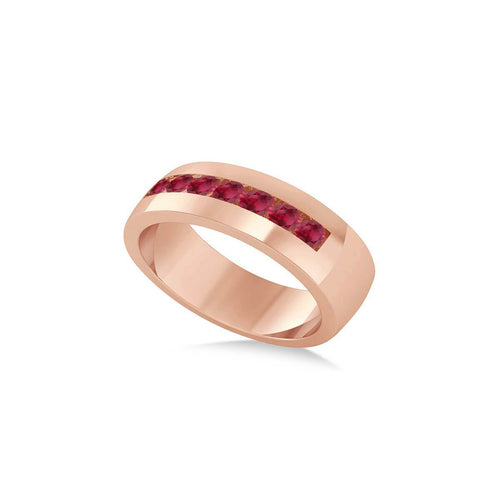 Rose Gold & Ruby Men's Wedding Band | Allurez