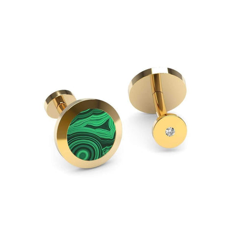 Malachite And Diamond Cufflinks-Cufflinks-Marcello Riccio-JewelStreet