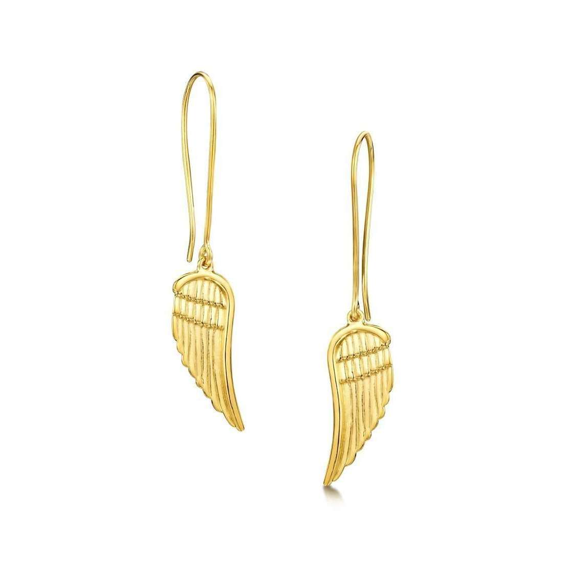 Yellow Gold Plated Angel Wings Earrings Large-Becky Rowe-JewelStreet US