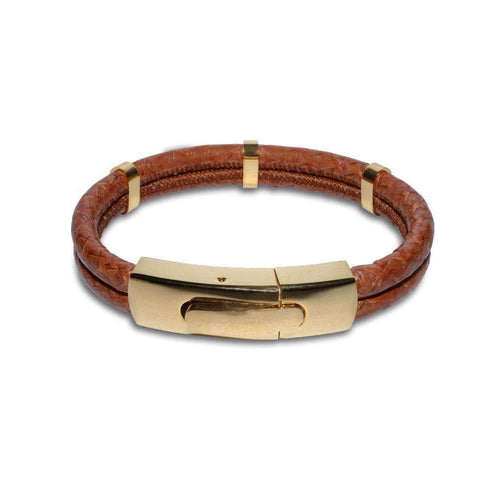 Atlantic Salmon Leather Bracelet - Gold Plated Cognac-Bracelets-Marlin Birna-JewelStreet