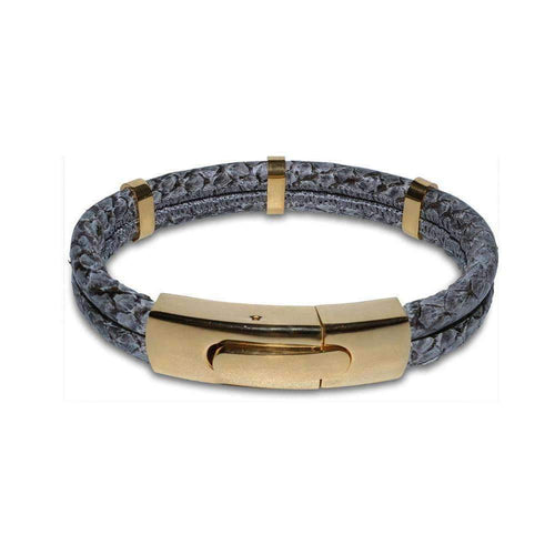 Atlantic Salmon Leather Bracelet - Gold Plated Grey-Bracelets-Marlin Birna-JewelStreet