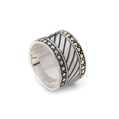 Imperial Bali Band In Sterling Silver and 18kt Yellow Gold-Samuel B.-JewelStreet US