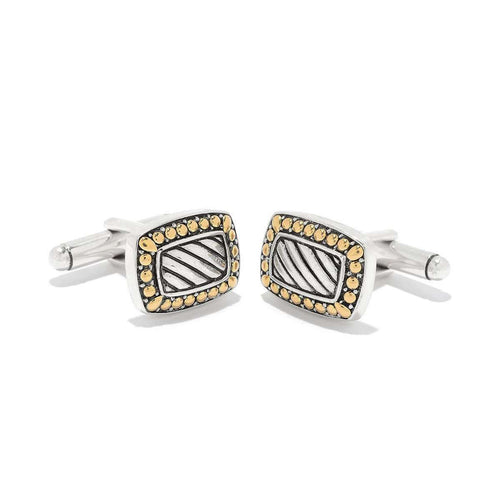 Imperial Bali Striped Cufflinks In Silver and Gold-Samuel B.-JewelStreet US