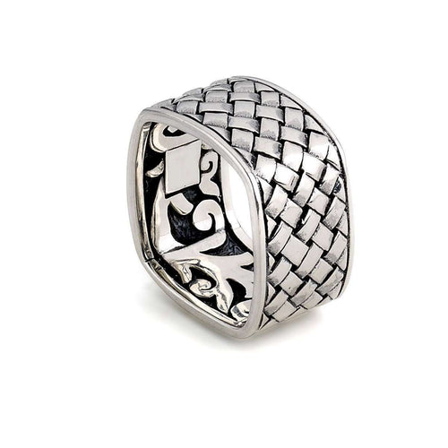 Bali Woven Square Ring In Sterling Silver-Samuel B.-JewelStreet US