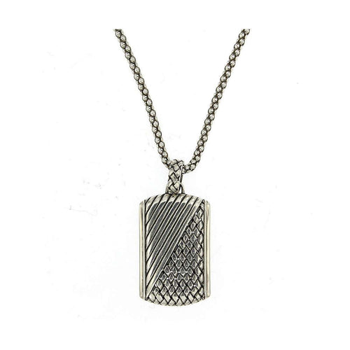 Imperial Bali Woven Dog Tag Pendant In Sterling Silver-Samuel B.-JewelStreet US