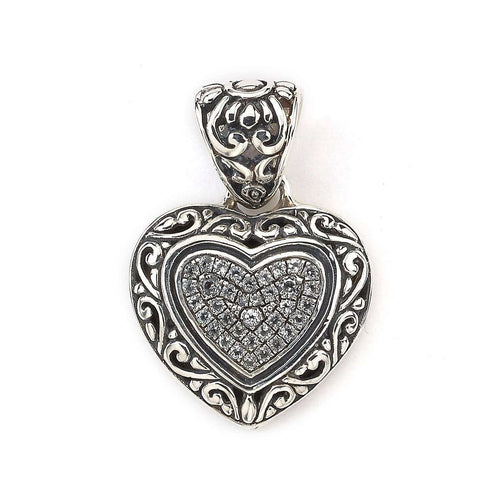 Heart Pendant With White Topaz In Sterling Silver-Samuel B.-JewelStreet US