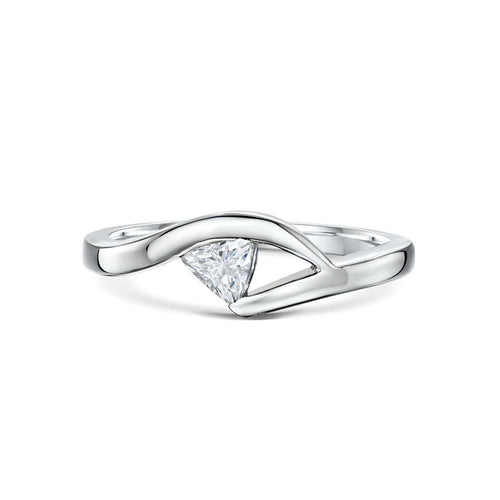 Palladium and Trillion Cut Diamond Engagement Ring-Becky Rowe-JewelStreet US