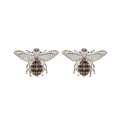Rhodium Plated Honey Bee Stud Earrings ,[product vendor],JewelStreet