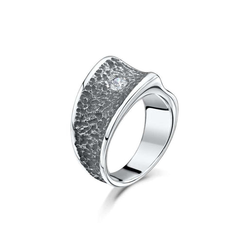 Chunky Silver Contrast Cubic Zirconia Ring-Becky Rowe-JewelStreet US