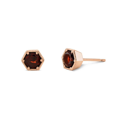 9kt Rose Gold Manhattan Garnet Earrings