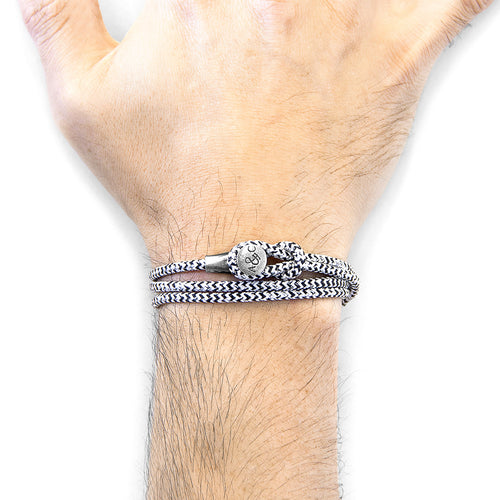White Noir Dundee Silver and Rope Bracelet ,[product vendor],JewelStreet