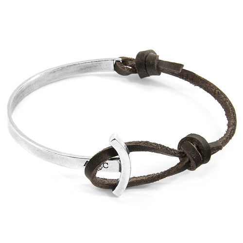 Dark Brown Galleon Anchor Silver and Flat Leather Half Bangle ,[product vendor],JewelStreet