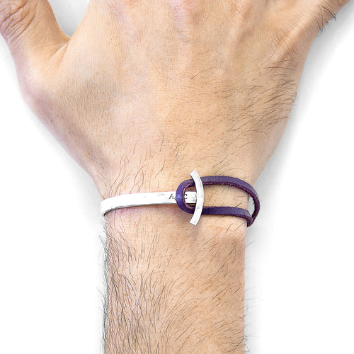 Grape Purple Galleon Anchor Silver and Flat Leather Half Bangle ,[product vendor],JewelStreet