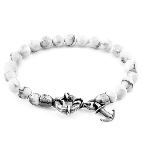 White Howlite Port Silver and Stone Bracelet ,[product vendor],JewelStreet