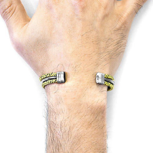 Yellow Noir Aire Silver and Rope Bangle ,[product vendor],JewelStreet