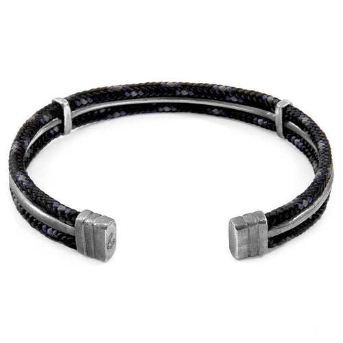 Black Aire Silver and Rope Bangle ,[product vendor],JewelStreet