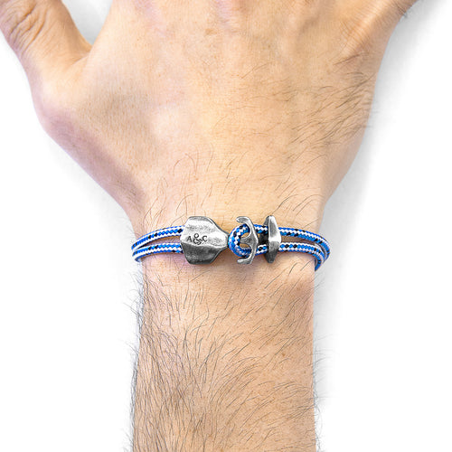 Blue Dash Delta Anchor Silver and Rope Bracelet ,[product vendor],JewelStreet