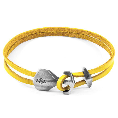Mustard Yellow Delta Anchor Silver and Flat Leather Bracelet ,[product vendor],JewelStreet