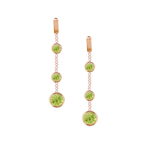 Chic Rose Gold Peridot Dew Drop Earrings