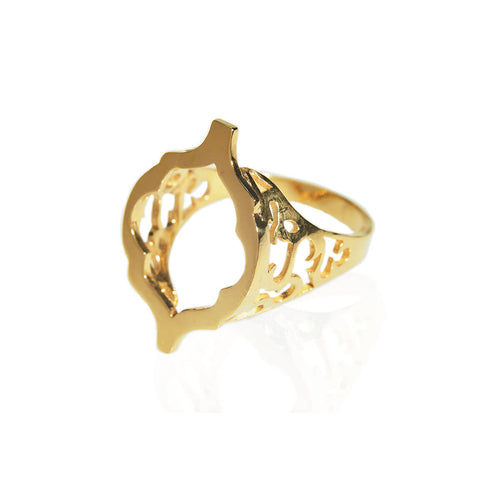 Yellow Gold Plated Arch Hollow Ring ,[product vendor],JewelStreet