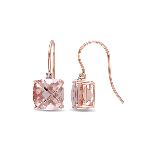 Rose Gold Cushion Morganite & Round Diamond Hook Earrings | Allurez