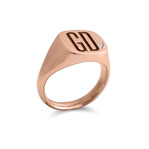 9kt Rose Gold Square Signet Ring ,[product vendor],JewelStreet