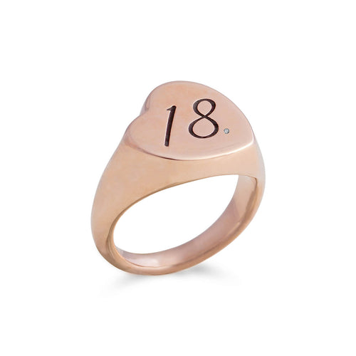 9kt Rose Gold Heart Signet Ring ,[product vendor],JewelStreet