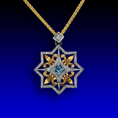 14kt White Gold & 18kt Yellow Gold Four Fleur-de-lis Pendant Necklace