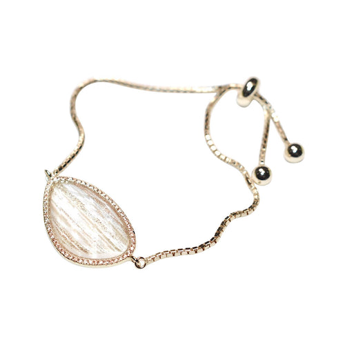 Yellow Gold Plated Abstract Halo Bracelet With Clear Glass Stone ,[product vendor],JewelStreet