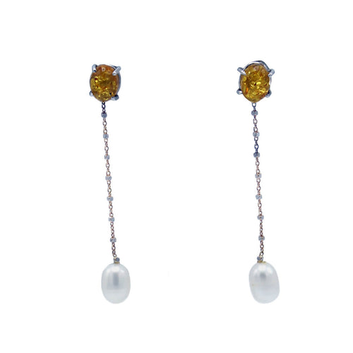 18kt Rose Gold Amber & Pearl Earrings ,[product vendor],JewelStreet