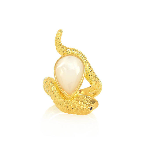 Yellow Gold Plated Arizona Ring With Pearl