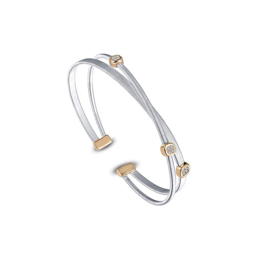 Milano Open Cuff Crossover Bangle Bracelet-Lafonn-JewelStreet US