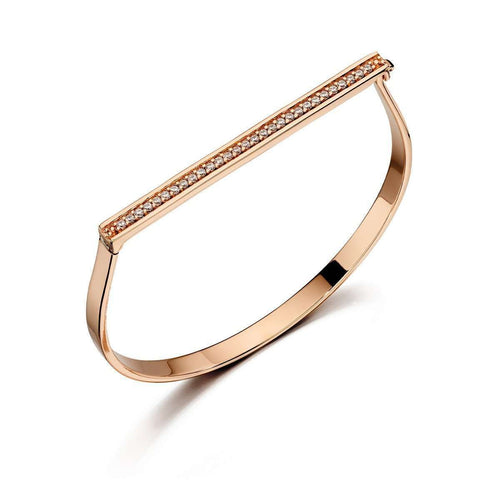 Rose Gold Pave Hinged Bangle-Fiorelli Silver-JewelStreet US