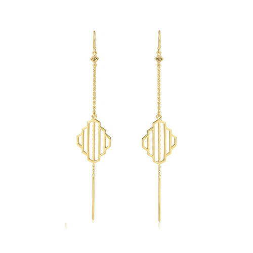 High Line Collection Threader Earrings Gold Plated ,[product vendor],JewelStreet