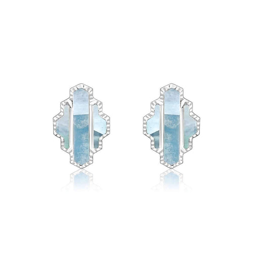 High Line Collection Stud Earring Blue Mother of Pearl ,[product vendor],JewelStreet