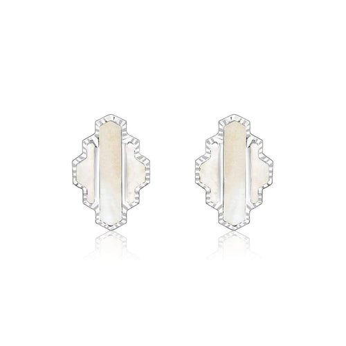 High Line Collection Stud Earring White Mother of Pearl ,[product vendor],JewelStreet