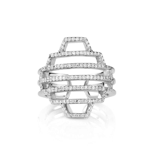 High Line Collection Embellished Dome Ring Silver ,[product vendor],JewelStreet