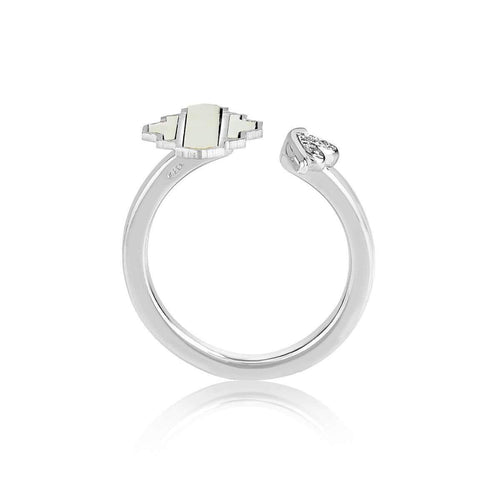 High Line Collection Ring White Mother of Pearl ,[product vendor],JewelStreet