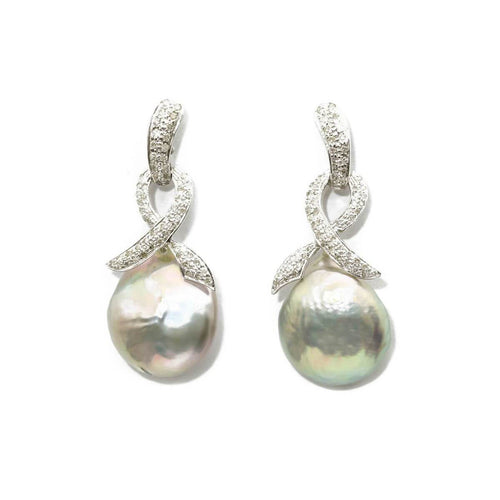 White Gold Plated Diamond Bow Top Baroque Earrings With Silver Pearl