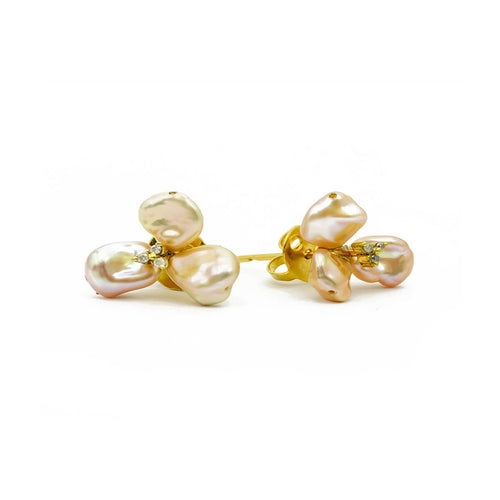 Yellow Gold Plated Baroque Pearl Flower Tops Earrings