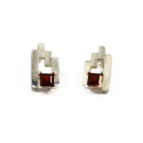 Silver SEVEN Stud Earrings With Garnet ,[product vendor],JewelStreet