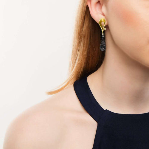 Black Diamonds And Yellow Gold Calla Earrings-Alex Soldier-JewelStreet US