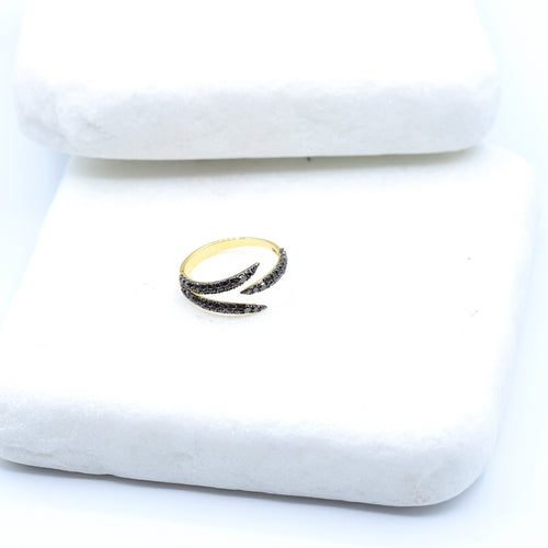 18kt Yellow Gold Black Diamond Claw Ring ,[product vendor],JewelStreet
