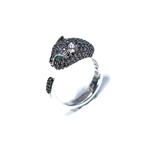 18kt White Gold Panther Diamond Ring ,[product vendor],JewelStreet