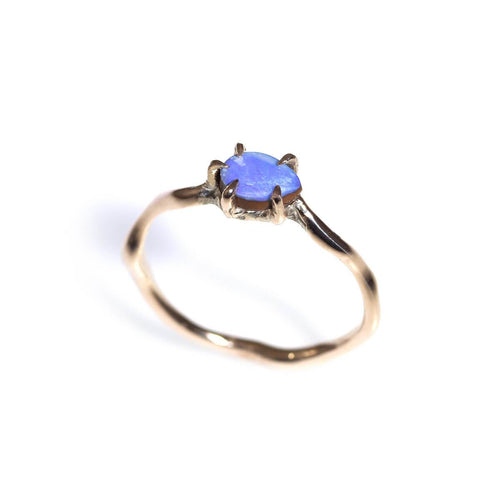 10kt Yellow Gold Blue Opal Teardrop Gold Wave Ring