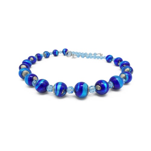 Murano Glass Bead Blue Star Necklace  ,[product vendor],JewelStreet